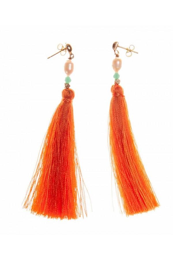 Tangerine Tassel Earrings