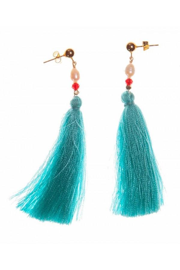 Pendientes de borlas en tonos turquesa y perlas cultivadas
