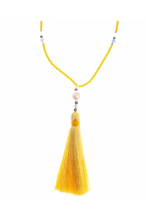Collar Borlón de Seda en Amarillo Girasol