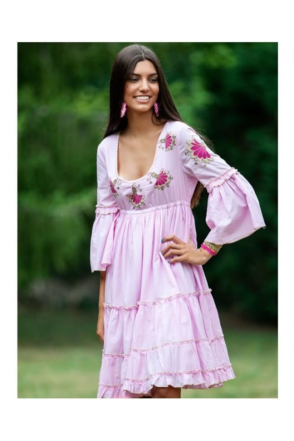 Vestido verano boho chic dance rosa chicle