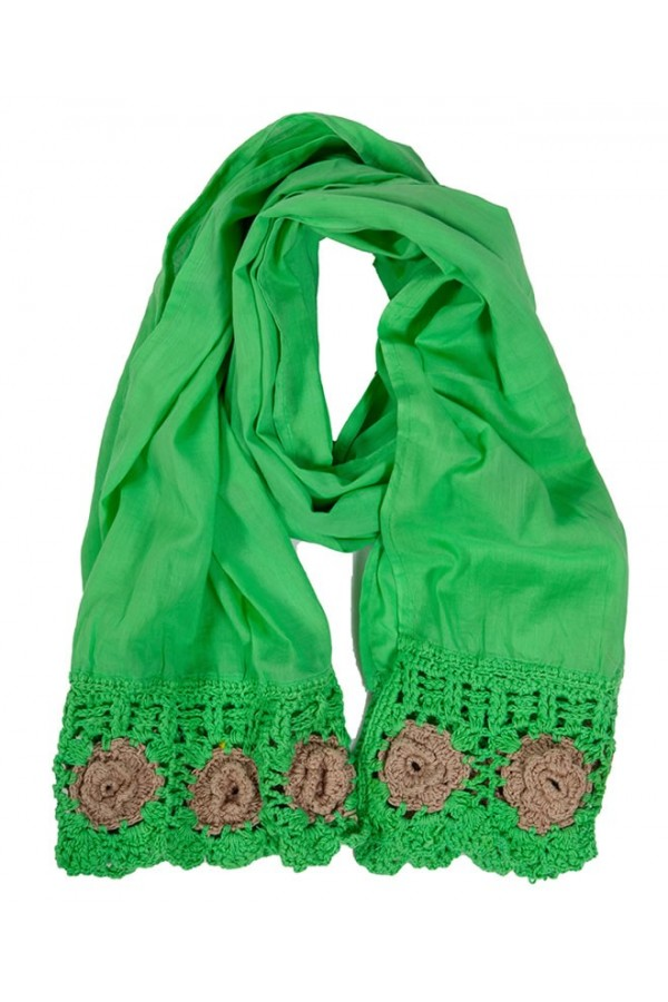 Green Crochet Foulard