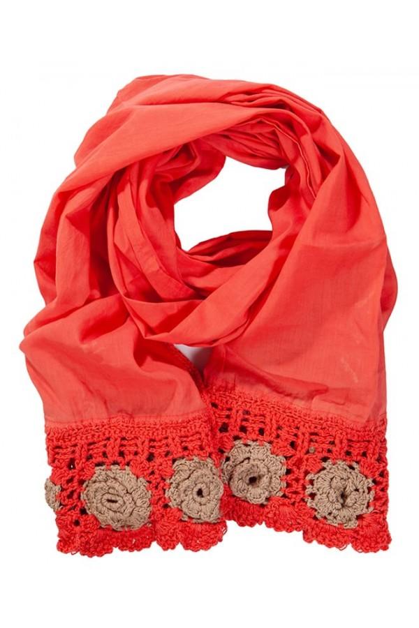 Red Crochet Foulard