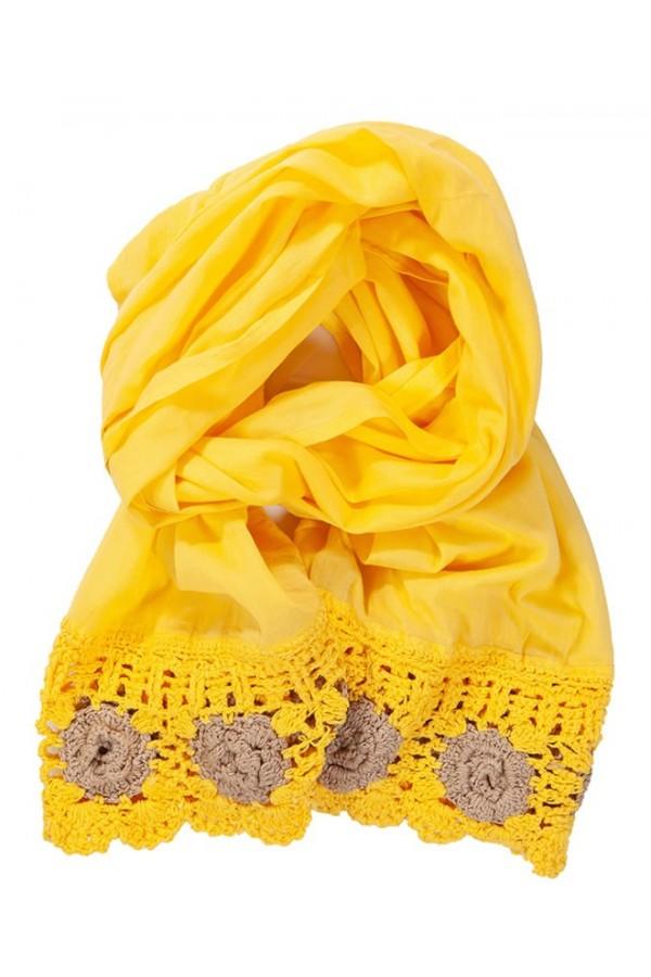 Yellow Crochet Foulard
