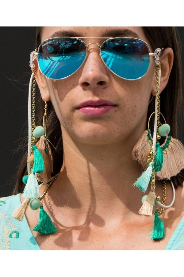 Cordones gafas borlas y pompones jade