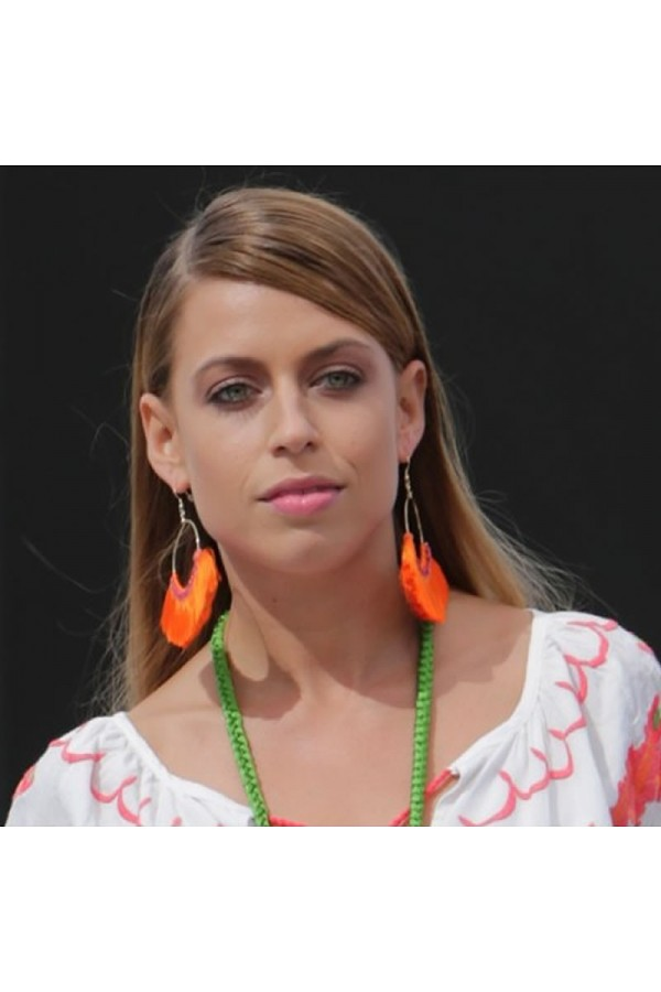 Orange fan earrings
